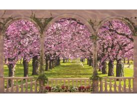 Fotobehang Papier Bos | Roze, Groen | 368x254cm