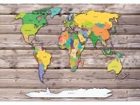Fotobehang Vlies   Wereldkaart   Geel, Grijs   368x254cm (bxh)