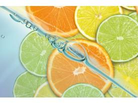 Fotobehang Papier Fruit, Keuken   Oranje, Groen   254x184cm