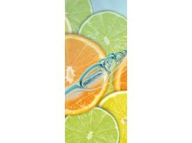 Deursticker Muursticker Keuken | Groen, Oranje | 91x211cm