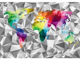Fotobehang Vlies   Wereldkaart, 3D   Grijs   368x254cm (bxh)