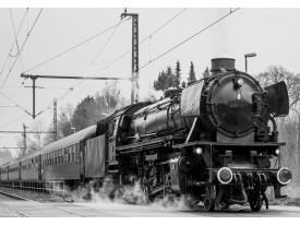 Fotobehang Vlies | Trein | Zwart, Wit | 368x254cm (bxh)