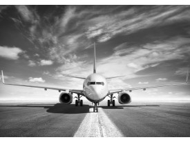 Fotobehang Vlies | Vliegtuig | Zwart, Wit | 368x254cm (bxh)