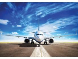 Fotobehang Vlies | Vliegtuig | Blauw, Wit | 368x254cm (bxh)