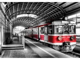 Fotobehang Vlies   Trein   Rood, Zwart   368x254cm (bxh)