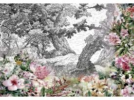 Fotobehang Vlies | Bloemen | Groen, Roze | 368x254cm (bxh)