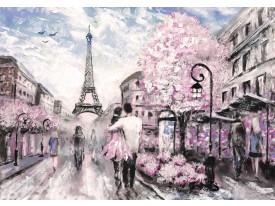 Fotobehang Vlies | Parijs, Eiffeltoren | Roze, Zwart | 368x254cm (bxh)