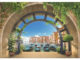 Fotobehang Vlies | Venetië, Muur | Blauw | 368x254cm (bxh)