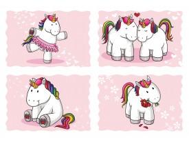 Fotobehang Vlies | Unicorn | Roze, Wit | 368x254cm (bxh)