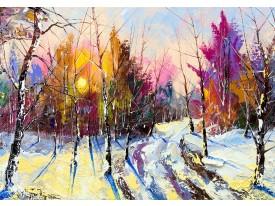 Fotobehang Vlies | Winter, Bos  | Paars | 368x254cm (bxh)