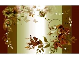 Fotobehang Papier Bloemen | Groen, Bruin | 254x184cm