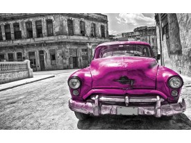 Fotobehang Oldtimer, Auto | Roze, Grijs | 104x70,5cm