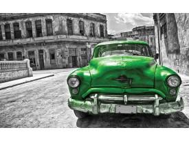 Fotobehang Vlies | Oldtimer, Auto | Grijs, Groen | 368x254cm (bxh)