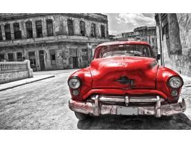 Fotobehang Vlies | Oldtimer, Auto | Grijs, Rood | 368x254cm (bxh)
