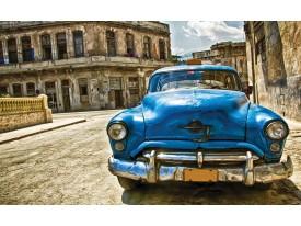 Fotobehang Oldtimer, Auto | Blauw, Bruin | 416x254