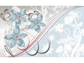 Fotobehang Bloemen | Blauw, Grijs | 208x146cm