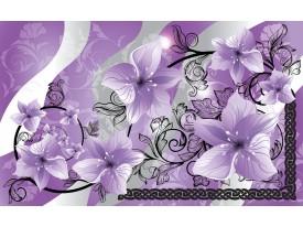 Fotobehang Papier Bloemen   Paars, Grijs   254x184cm