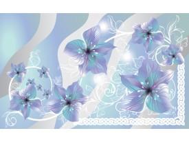 Fotobehang Vlies | Bloemen | Grijs, Blauw | 368x254cm (bxh)