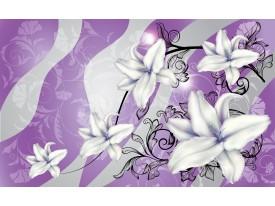 Fotobehang Papier Bloemen | Paars, Grijs | 368x254cm