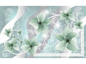 Fotobehang Bloemen | Groen, Grijs | 104x70,5cm