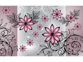 Fotobehang Vlies | Bloemen | Roze, Grijs | 368x254cm (bxh)