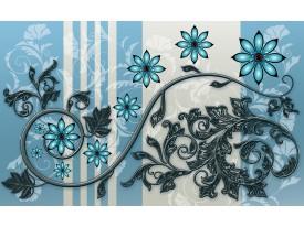 Fotobehang Vlies | Bloemen | Blauw, Grijs | 368x254cm (bxh)