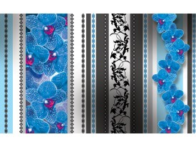 Fotobehang Vlies | Bloemen, Orchidee | Blauw, Grijs | 368x254cm (bxh)