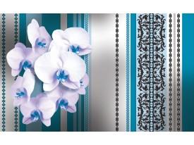 Fotobehang Bloemen, Orchidee | Turquoise, Wit | 208x146cm