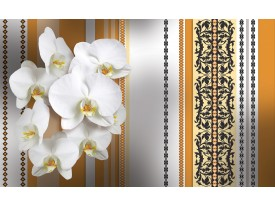 Fotobehang Bloemen, Orchidee | Wit, Oranje | 104x70,5cm