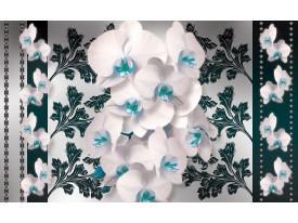 Fotobehang Bloemen, Orchideeën | Turquoise, Wit | 152,5x104cm