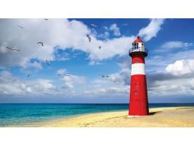 Fotobehang Papier Vuurtoren, Strand | Blauw | 254x184cm