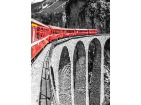 Fotobehang Papier Brug | Zwart, Rood | 184x254cm
