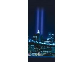 Deursticker Muursticker New York | Blauw | 91x211cm