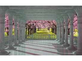 Fotobehang Papier Bomen | Roze, Groen | 254x184cm