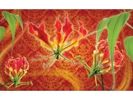 Fotobehang Bloemen | Oranje, Rood | 208x146cm