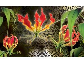 Fotobehang Vlies | Bloemen | Groen, Rood | 368x254cm (bxh)