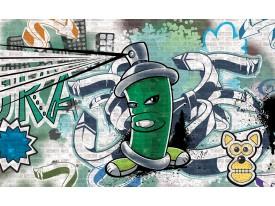 Fotobehang Graffiti | Groen, Grijs | 312x219cm