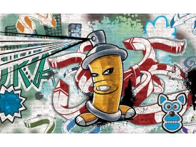 Fotobehang Graffiti | Groen, Blauw | 416x254