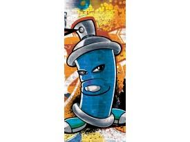 Fotobehang Graffiti | Blauw | 91x211cm