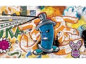 Fotobehang Vlies | Graffiti | Oranje, Blauw | 368x254cm (bxh)