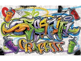 Fotobehang Graffiti, Street art | Geel | 104x70,5cm