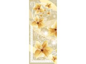 Deursticker Muursticker Bloemen | Goud | 91x211cm