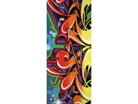 Deursticker Muursticker Graffiti | Rood, Geel | 91x211cm