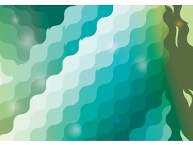 Fotobehang Papier Abstract   Groen, Blauw   254x184cm