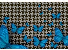 Fotobehang Vlies | Vlinder | Blauw, Grijs | 368x254cm (bxh)