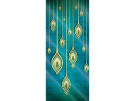 Deursticker Muursticker Modern | Turquoise, Goud | 91x211cm