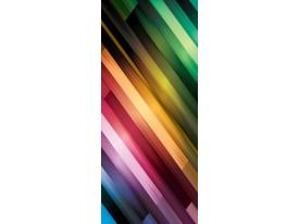 Deursticker Muursticker Modern, Strepen | Paars, Groen | 91x211cm