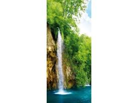 Deursticker Muursticker Natuur, Waterval | Groen | 91x211cm