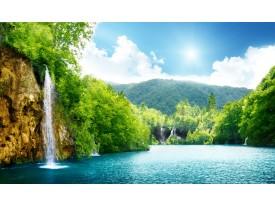 Fotobehang Natuur, Waterval | Groen, Blauw | 104x70,5cm