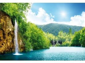 Fotobehang Vlies   Natuur, Waterval   Groen, Blauw   368x254cm (bxh)